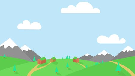 Vector bright colorful nature landscape with mountains, green meadow and small village with few wooden houses and lanes
