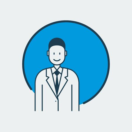 Vector icon of a doctor standing in a medical gown and a tie. It represents medicine overall and family doctor