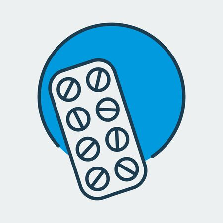 Vector icon of a blister pack with pills. It represents medication treatment