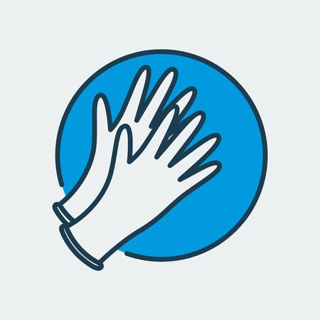 Vector icon of medical gloves. It represents medicine, pharmacy, hospital and more