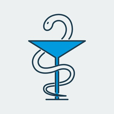 Vector icon of Bowl of Hygieia, one of the symbols of pharmacy. It represents medicine overall, pharmacy, hospital and more