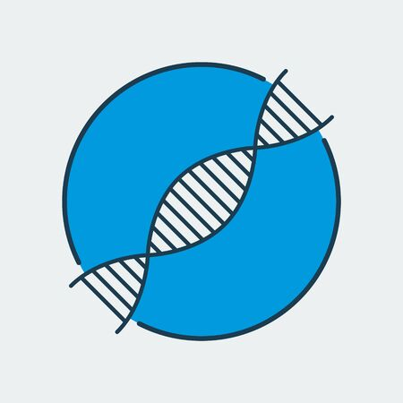 Vector icon of DNA chain. It represents gene diseases, laboratory research, scientific discoveries and medical studies