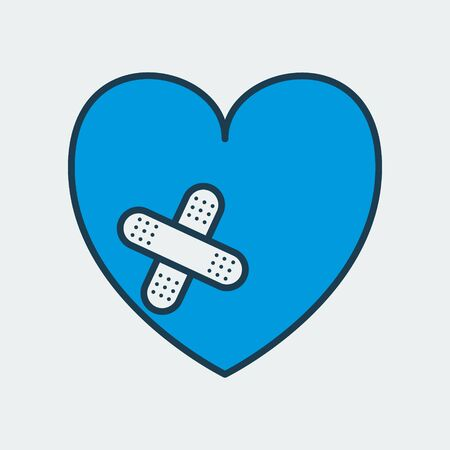 Vector icon of heart with medical patch on it. It represents heart diseases and its treatment