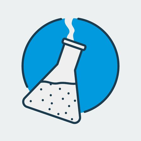 Vector icon of a chemical flask. It represents laboratory research, scientific discoveries and medical studies