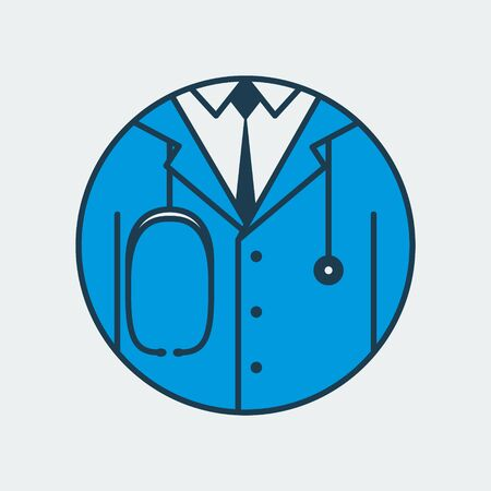Vector icon of a doctors medical gown with a tie and a stethoscope. It represents medicine overall and family doctor Illusztráció