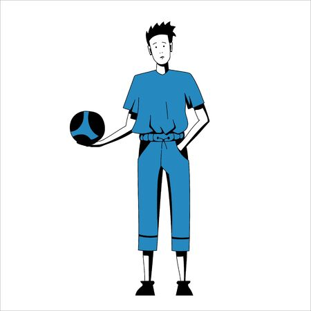 Vector illustration of a boy in sport suit holding ball in the hand Illusztráció