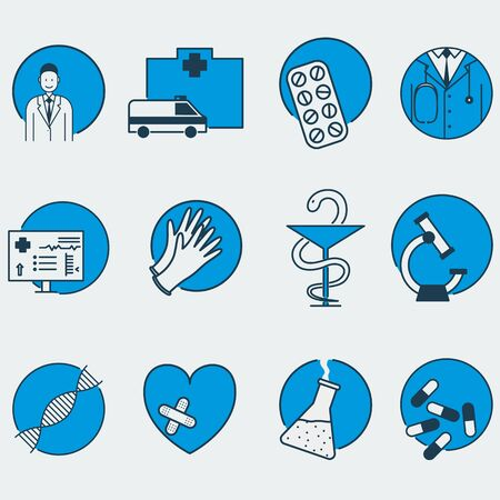 Set of 12 colorful vector medical icons. It represents microscope, ambulance, family doctor, pills, capsules, medical technology, DNA chain, chemical flask, gloves, laboratory research, scientific discoveries