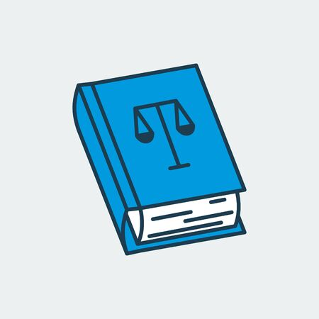 Vector icon of a constitution book with Scales of Justice illustration on its cover. It represents constitutional rights, court and justice Illusztráció