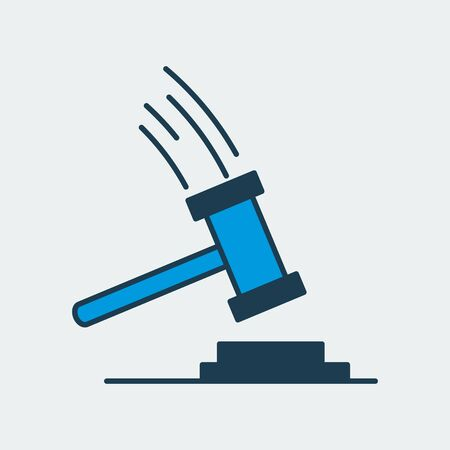 Vector icon of a judges gavel, hammer, hitting the surface. It represents constitutional rights, court, justice and work of judges, lawyers and prosecutors