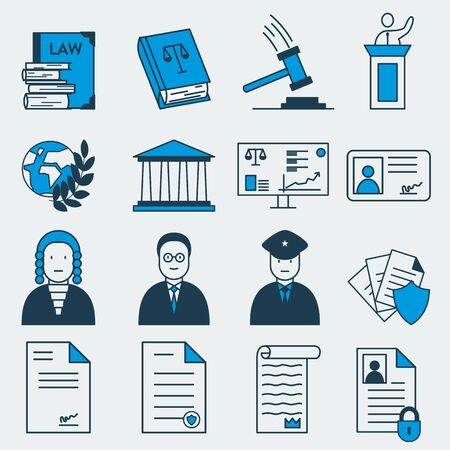 Set of 16 vector colorful icons of law and jusrtice related items. It represents constitutional rights, court, justice, work of judges, lawyers and prosecutors, courthouse, law, secret documents and more Foto de archivo - 139589936