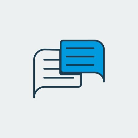 Vector colorful icon with two stickers and text lines on it. It represents communication between people through messaging and chatting