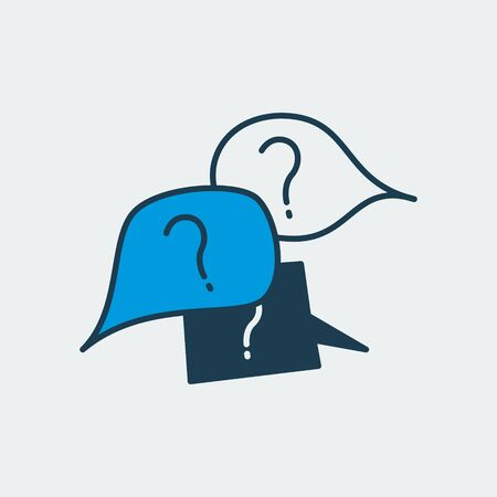 Vector colorful icon with a three message shapes and question marks on it. It represents receiving an unclear or weird message and asking a question about it