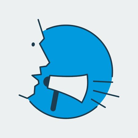 Vector colorful icon with a person talking through loudspeaker. It represents loud speaking, announcement, speech, declaration, public talk and more  イラスト・ベクター素材
