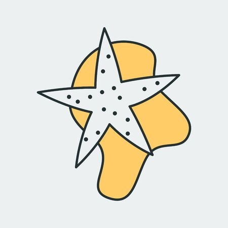 Vector colorful icon of a starfish in the sand. It represents a concept of sea world, sea, beach and animals. Also can be used as a logo  イラスト・ベクター素材