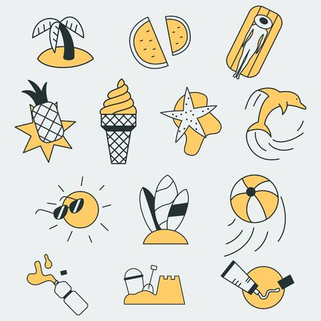 Set of colorful vector icons of a different summer, food and fun related objects. Each icon also can be used as a logo