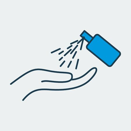 Vector icon of a hand sanitizer spraying on hand. It represents a concept of cleanliness, body care, healthy lifestyle and virus protection. Also can be used as a logo
