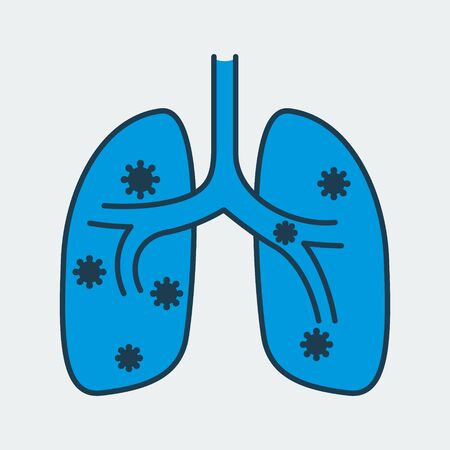 Vector icon of a human lungs infected by a virus. It represents a concept of medical protection, coronavirus danger, health safety and virus quarantine