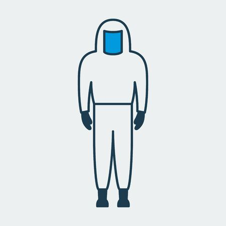 Vector colorful icon of a closed medical protective suit. It represents a concept of medical protection, isolation, health safety and virus control.