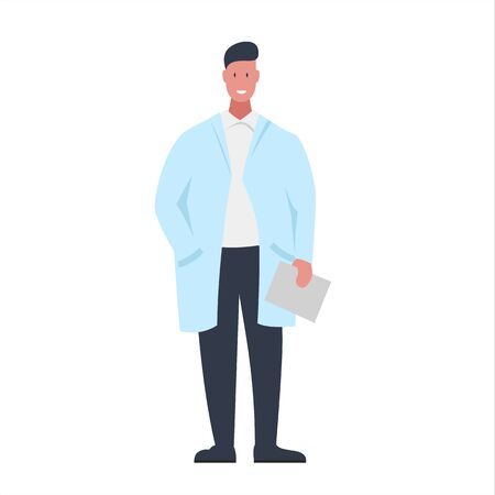 Vector colorful illustration of a character of a smiling male doctor with a folder in his hand. It represents a concept of doctors work, medical protection and health safety