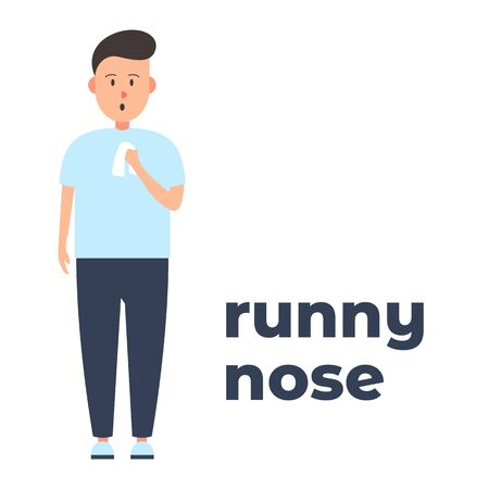 Vector colorful icon of a character with a runny nose because of the infection. It represents a concept of medical protection, virus symptoms, runny nose as a symptom, health safety and virus quarantine