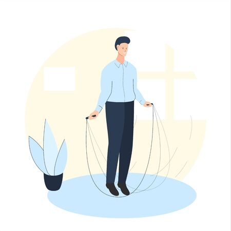 Vector colorful illustration of a man jumping rope in the room. It represents a concept of home activity, healthy lifestyle, sport exercise, quarantine and staying at home Vettoriali