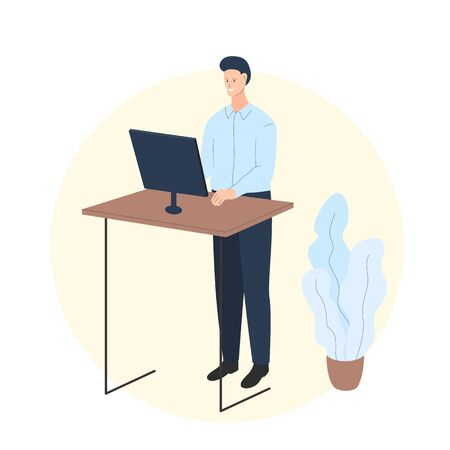 Vector colorful illustration of a man working at the computer in the room with a standing desk. It represents a concept of home activity, healthy lifestyle, remote job, quarantine and staying at home Vettoriali