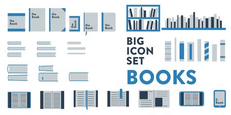 Set more than 30 vector images of books related items, book, cover, eBook, shelf, binding. Vecteurs