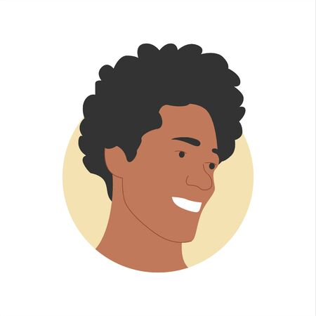 Vector colorful illustration of a portrait of a happy smiling attractive mixed race man with curly hair. It represents a concept of beauty, joy and happiness. Also can be used as an avatar, icon or badge