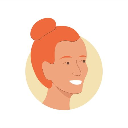 Vector illustration of a portrait of a happy smiling attractive young redhead girl. It represents a concept of beauty, joy and happiness. Also can be used as an avatar, icon or badge