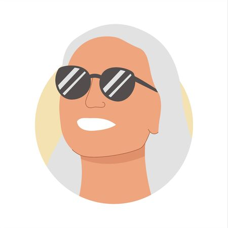 Vector colorful illustration of a portrait of a happy smiling attractive fair-haired woman in a sunglasses. It represents a concept of beauty, joy and happiness. Also can be used as an avatar, icon or badge