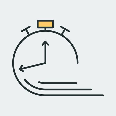 Vector icon of outlined alarm clock with clock hands and ringing bell on top. It represents a concept of time management, timer, countdown, schedule.