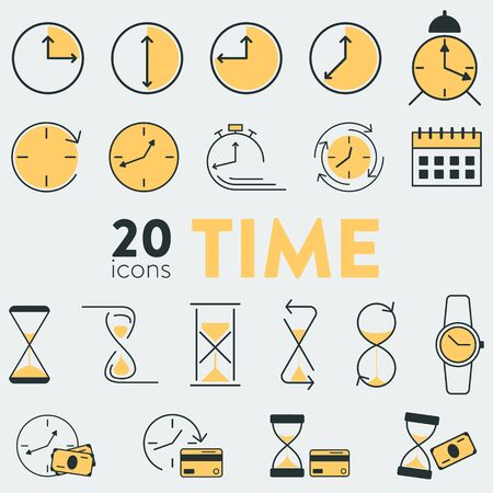 Set of 20 vector colorful icons with time and money related objects. It includes hourglasses, watches, clock, alarm, calendar, credit card and cash money. Ilustración de vector