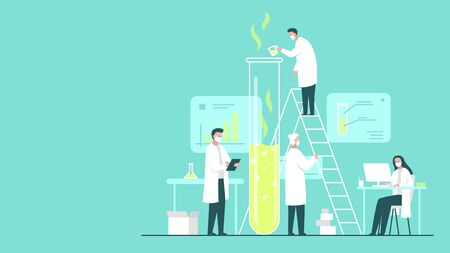 Vector colorful concept illustration of a team of scientists wearing masks doing research in a chemistry lab. It represents a concept of scientific progress, important discoveries and chemical experiments Иллюстрация
