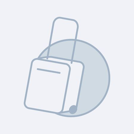 Vector modern icon of a suitcase on wheels. It represents a concept of travelling equipment
