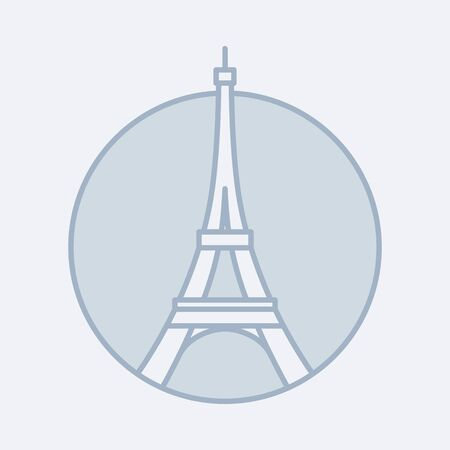 Vector outlined modern icon of the Eiffel Tower in Paris, France. Hand-drawn icon of an ancient building