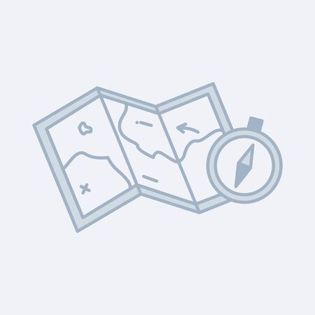 Vector modern icon of a paper map and compass. It represents a concept of travelling, adventures and fun journey.