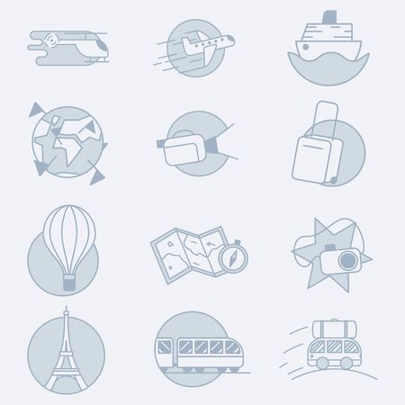 Set of 12 vector modern transport and vehicles related icons. It represents a concept of travelling, transportation, road adventures and fun journey.