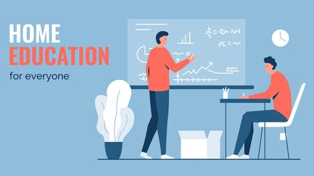 Vector concept illustration of a person sitting at a desk and another man writing and teaching with a blackboard. It represents a concept of personal individual education, teaching and learning Ilustrace