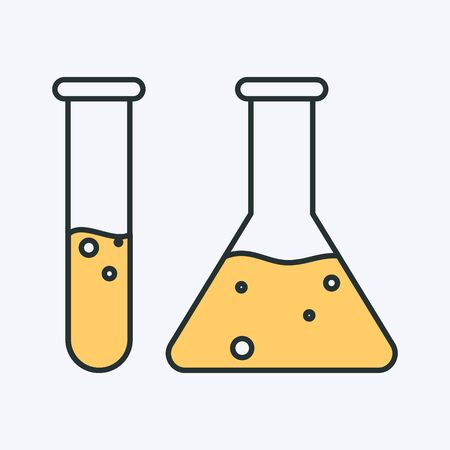 Vector icon of a chemical tube and flask filled with yellow fluid. Can be used as a  chemistry icon or chemical experiment image Иллюстрация