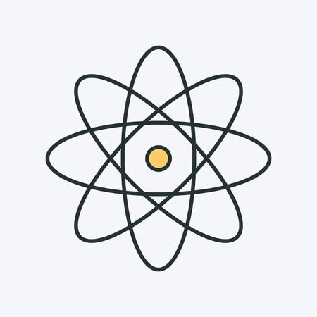 Atom colorful icon. Vector illustration of an atom or molecule. It represents concept of physics, molecule structure, school education, studying and learning chemistry Illusztráció