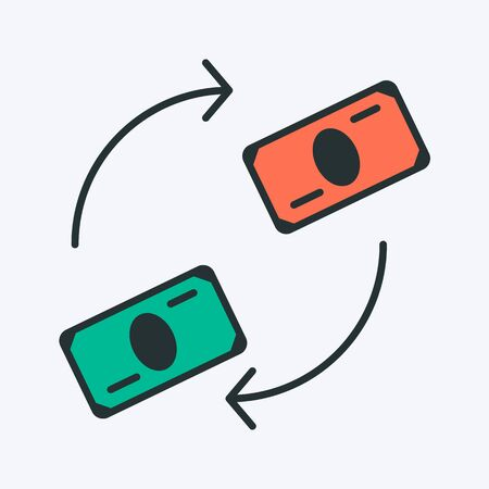 Money exchange colorful icon. Vector illustration of two different paper currencies with arrows. Currency conversion sign