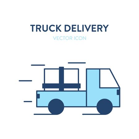 Delivery truck icon. Vector colorful illustration of a moving freight car with a large cargo. Loaded vehicle icon.
