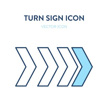 Turn right sign icon. Vector colorful illustration of a big right arrows signage. Modern navigation interface element. It represents a concept of road sign, right turn, next symbol