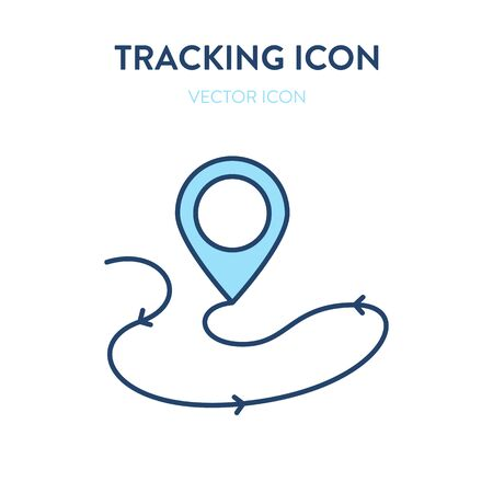 Package tracking icon. Vector colorful illustration of a location sign with arrow line. It represents a concept of package tracking, gps location, logistic service, world navigation and travelling Ilustração
