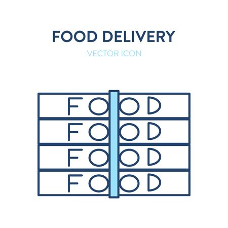 Food delivery icon. Vector simple illustration of stack of boxes with food. Represents a concept of online food ordering adn delivering. Flat cardboard boxes with text food