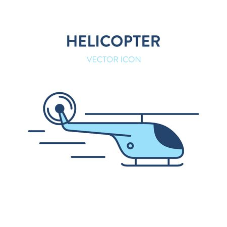Helicopter icon. Vector flat outline colorful illustration of a flying chopper. Represents a concept of air travel, journey, adventures, rescue mission, lifeguards