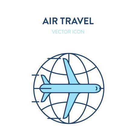 International flight icon. Vector flat outline colorful illustration of an airliner plane with earth globe icon in background. Represents a concept of international flights, air travel, commercial flight