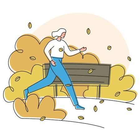 Vector colorful illustration of a girl running along the alley in the park in the autumn among yellow trees with a bench in background. Modern beautiful and cozy autumn illustration.