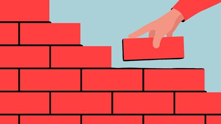 Vector colorful illustration of unfinished brick wall. Bright illustration of a red brick wall construction with a hand putting a brick along with the rest.