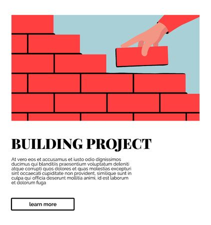 Interface card with image, headline and description. Vector colorful illustration of unfinished brick wall. Bright illustration of a red brick wall construction with a hand putting a brick along with the rest.  イラスト・ベクター素材